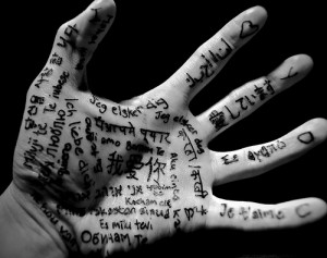 hand with languages